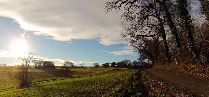 Vallonement gascon en hiver - Hügellandschaft in der Gascogne im Winter
