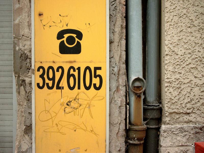 Vanishing Schrift - Telefonnummer