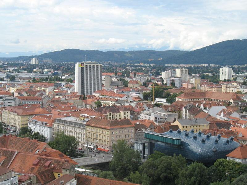 Veduta aerea di Graz (Austria)