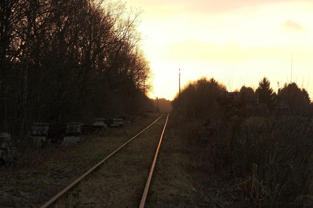 Vennbahn bei Sonnenuntergang