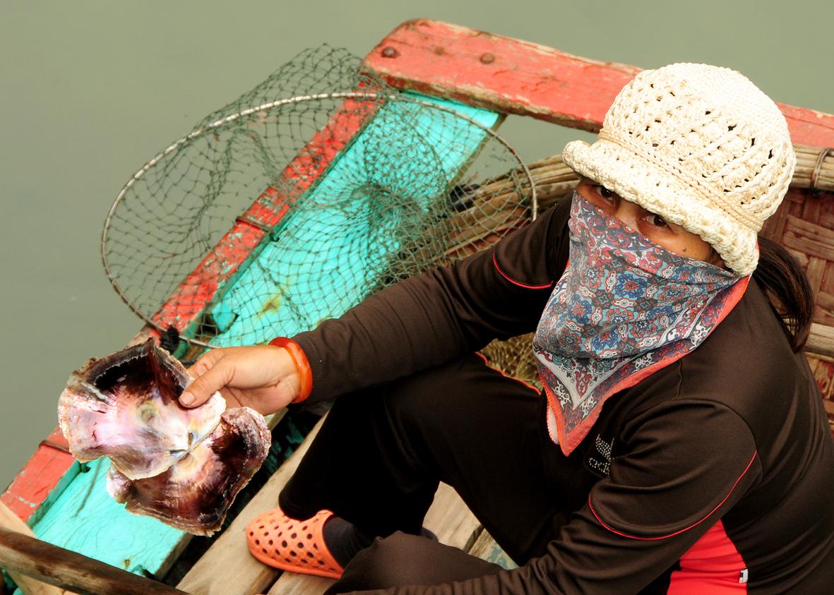 Verkäuferin, Halong Bay/Vietnam