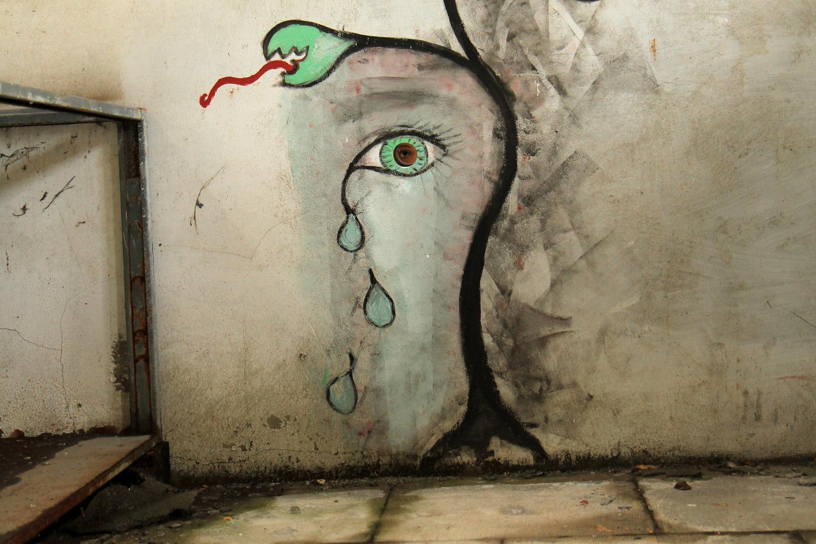 "Verlassenes Bahngelände Graffiti ""Spionage"""