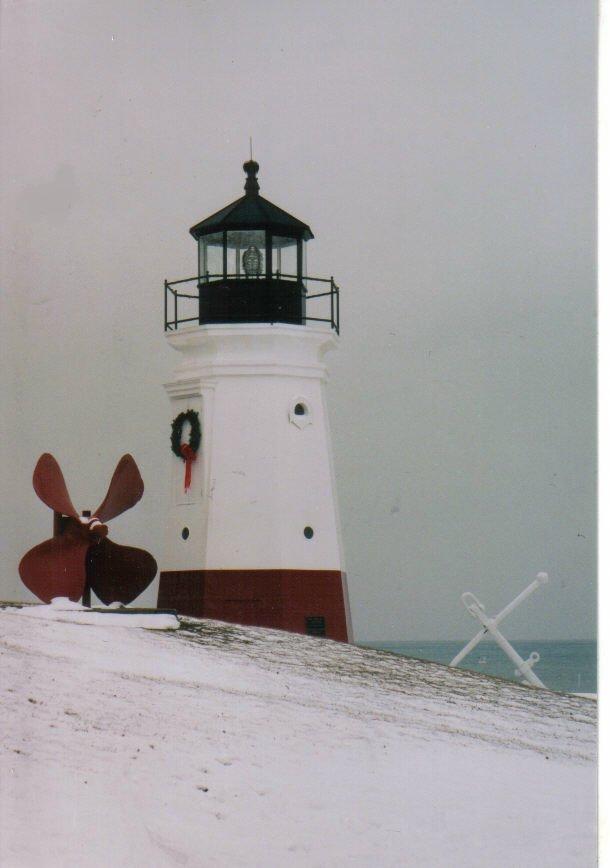 vermillion lighthouse in winter season