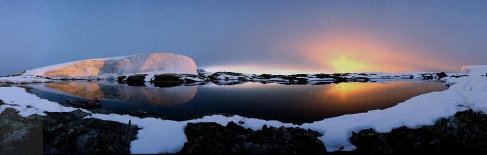 Vernadsky Base, Antarctica , Sonnenuntergang und Aufgang