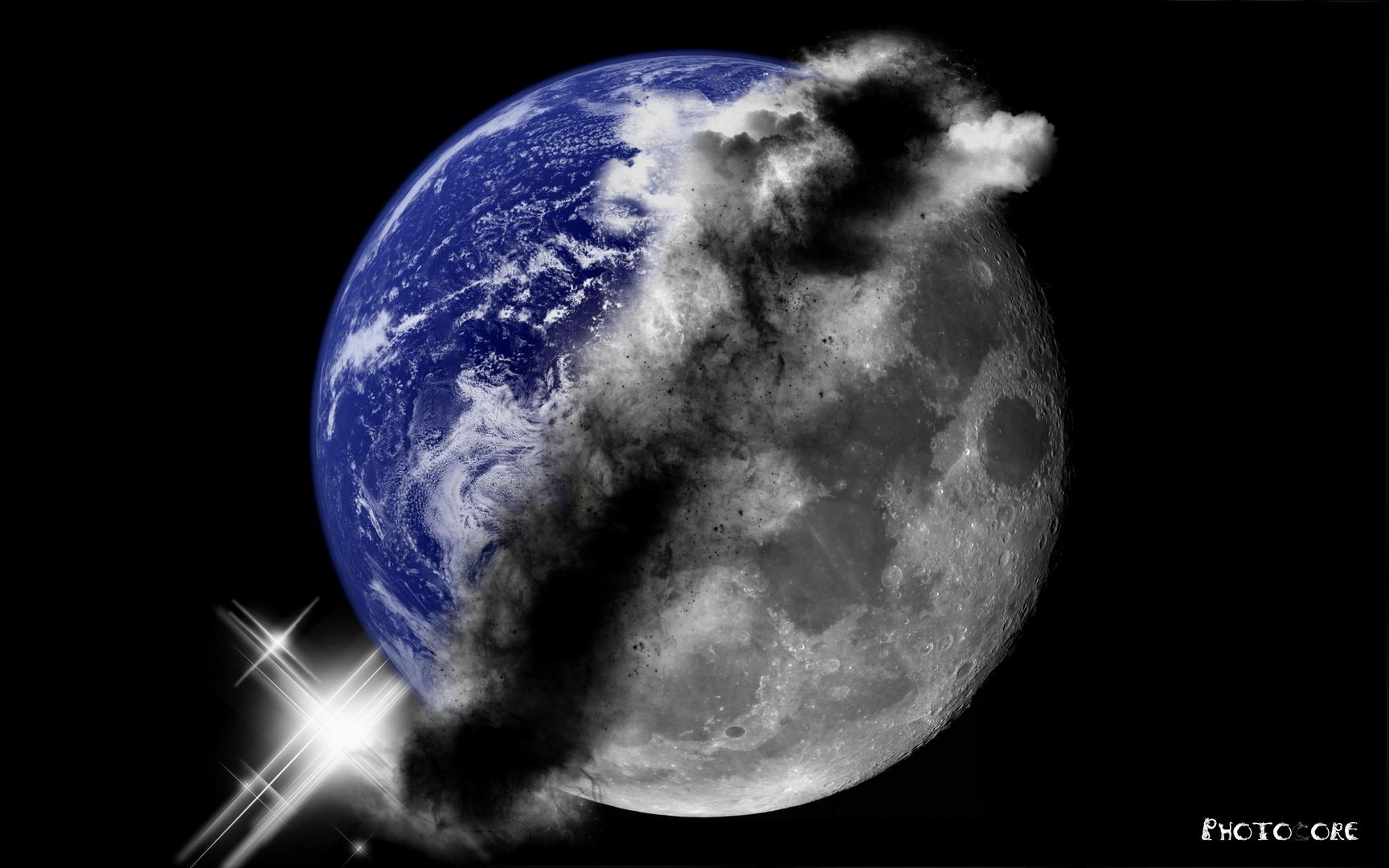 Verschmelzung von Erde und Mond...