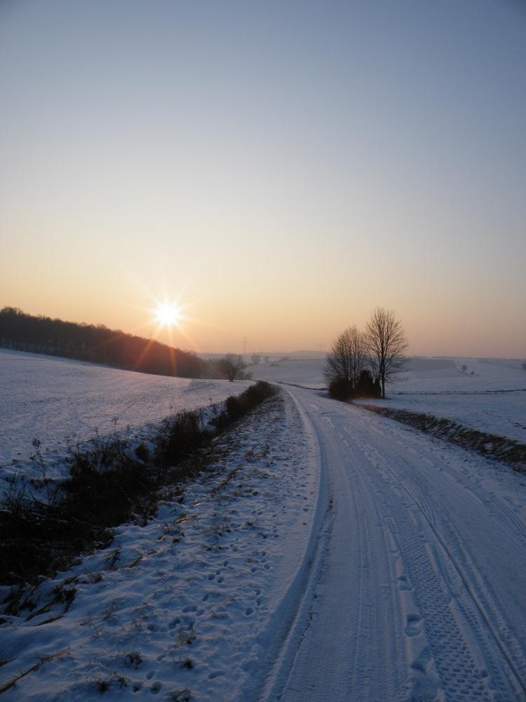 Verschneiter Weg in der Abendsonne