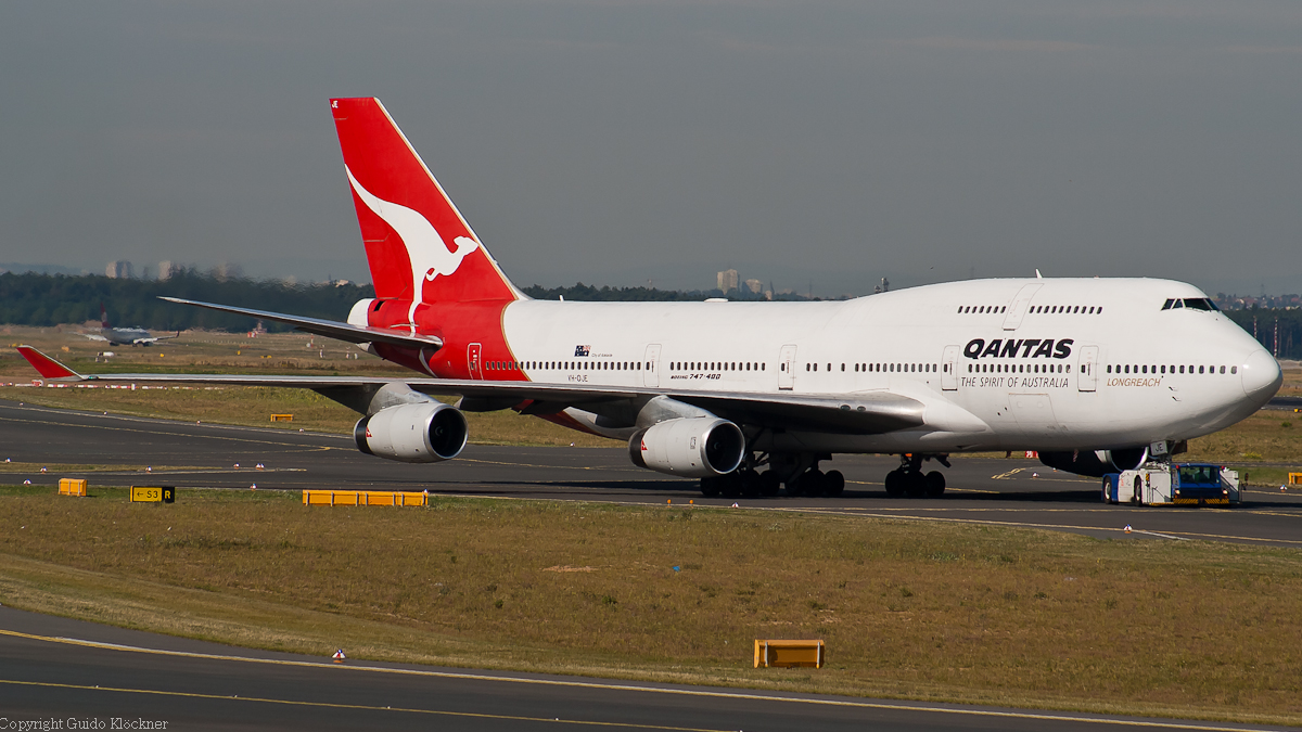VH-OJE Qantas Boeing 747-400 Frankfurt Airport
