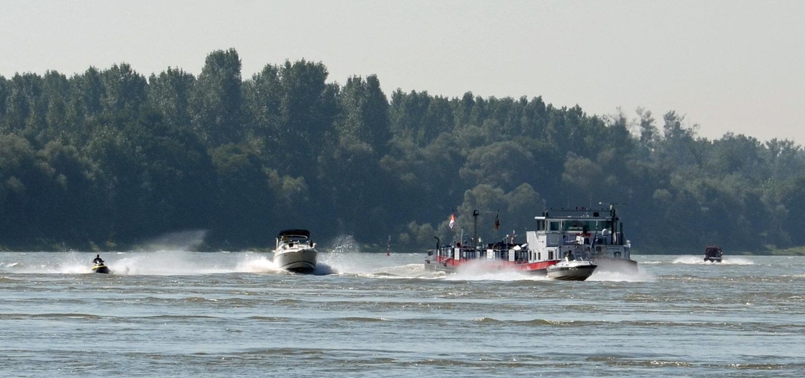 Viel los auf dem Rhein