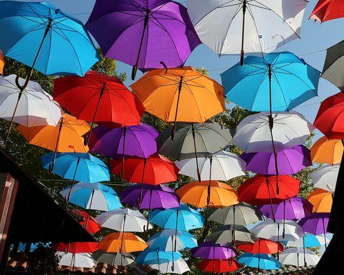 Viele bunte 'Smarties' ach ne Schirme