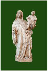 Vierge à l'Enfant (Pierre peinte XIVe siècle)