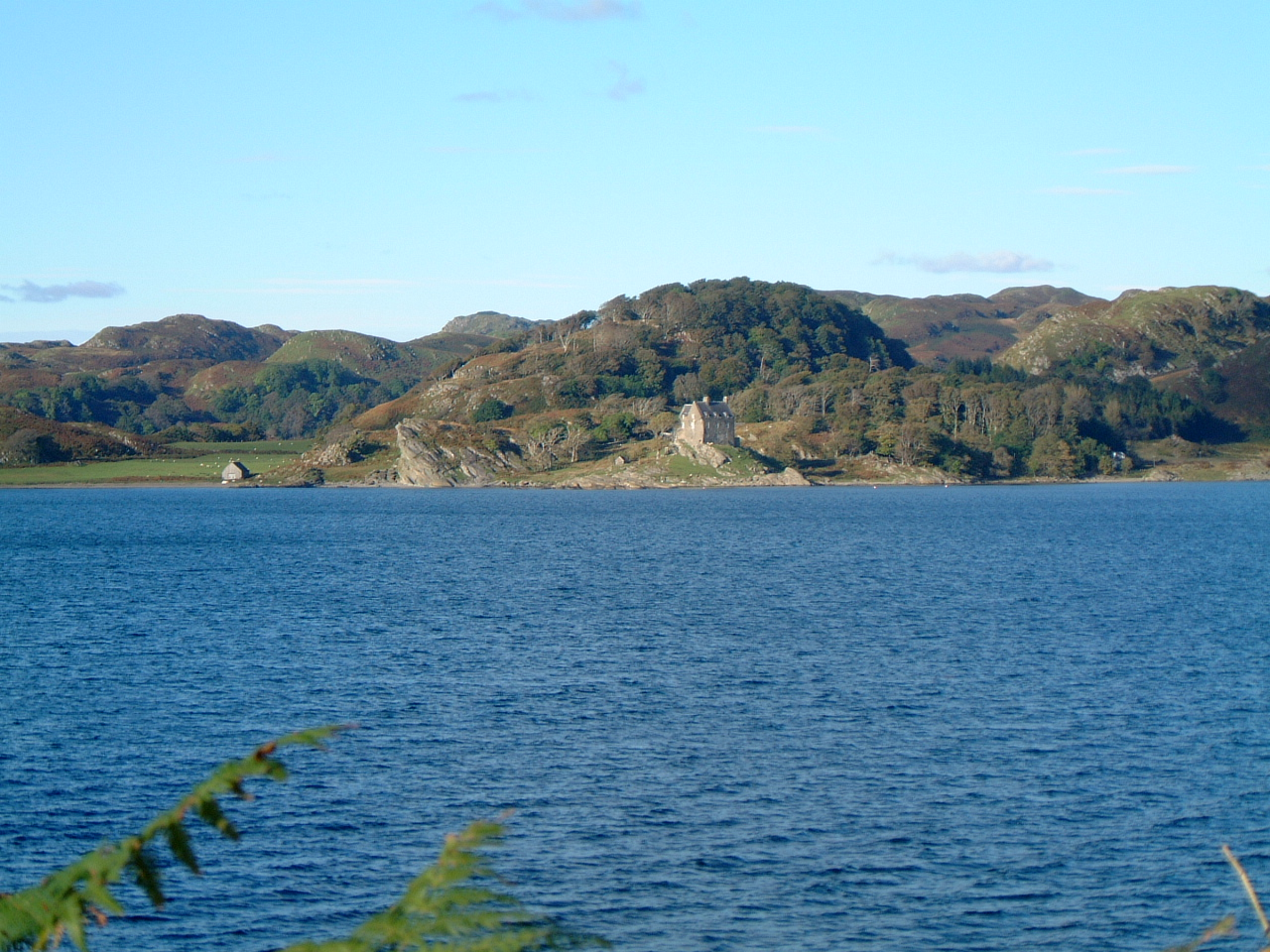 View from Crinan to Portalloch Castle on Knapdale Forest Hills over Loch Crinan