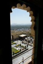 View from the City Palace across the inner court to the town below, Udaipur