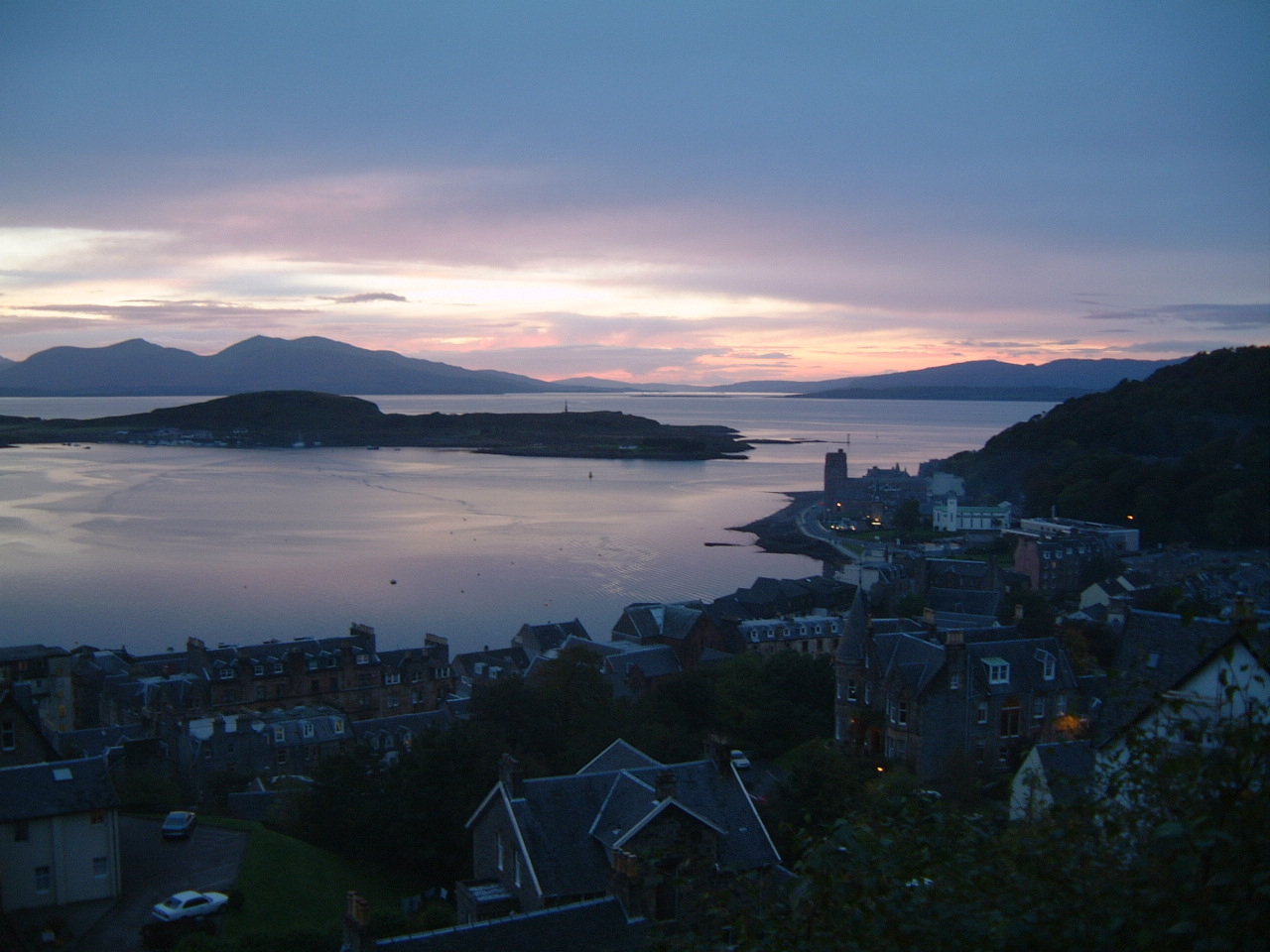 View from the McCaig's Tower over Oban Bay with Kerrera and Mull (beyond)