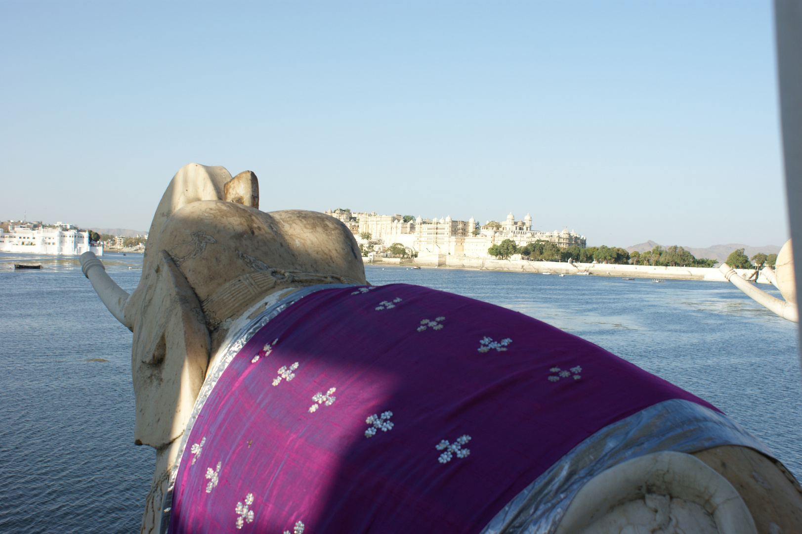 View from the Stone Elephants of Jag Mandir over Lake Pichola to the City Palace Complex, Udaipur