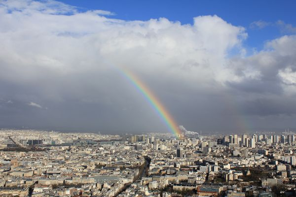 View of Paris with Rainbow