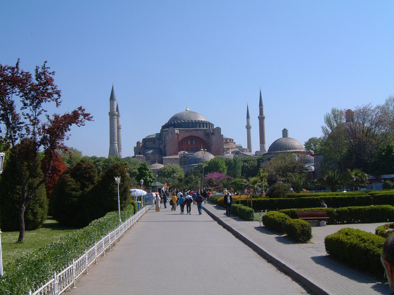 View to Hagia Sophia (Aya Sofya Meydani) from Sultanahmet Park