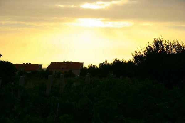 Village house on sunset