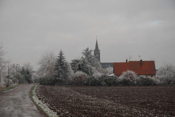 Village sous le givre