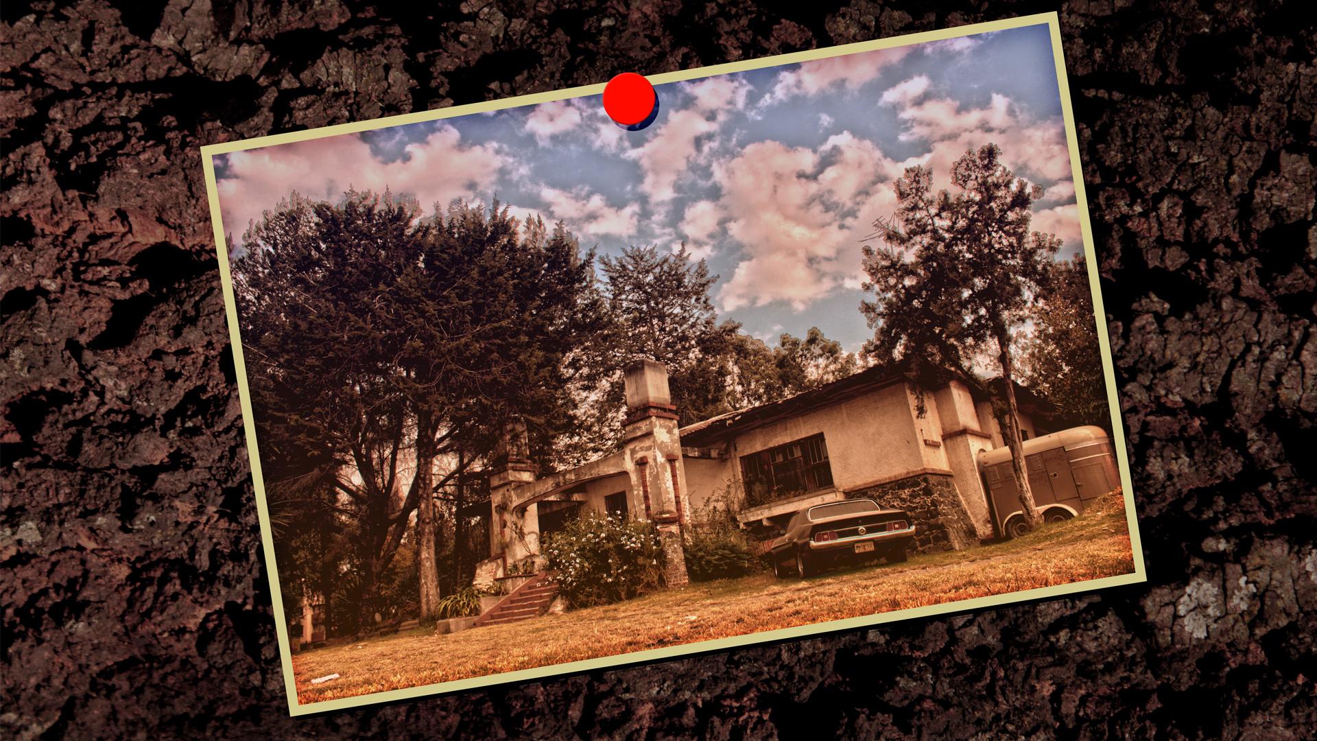 Vintage - Casa vieja y mustang.