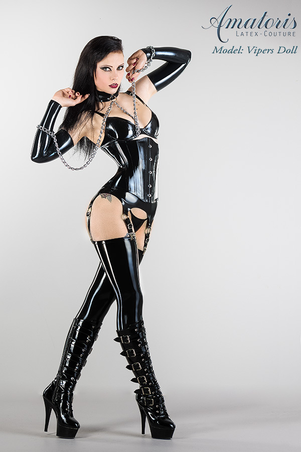 Vipers Doll Latex-Corset-Outfit