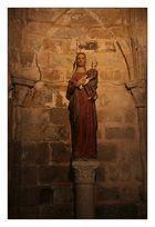 Virgen Blanca a la entrada de la Catedral Vieja de Plasencia (Cáceres Extremadura España)