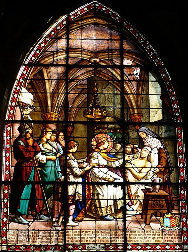 Vitrail à l'église Saint-Jacques représentant Saint-Louis