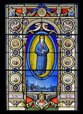 Vitrail (apparition de la vierge à Pontmain..Mayenne) 1871
