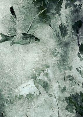Vogel  mit Migrations-Hintergrund.