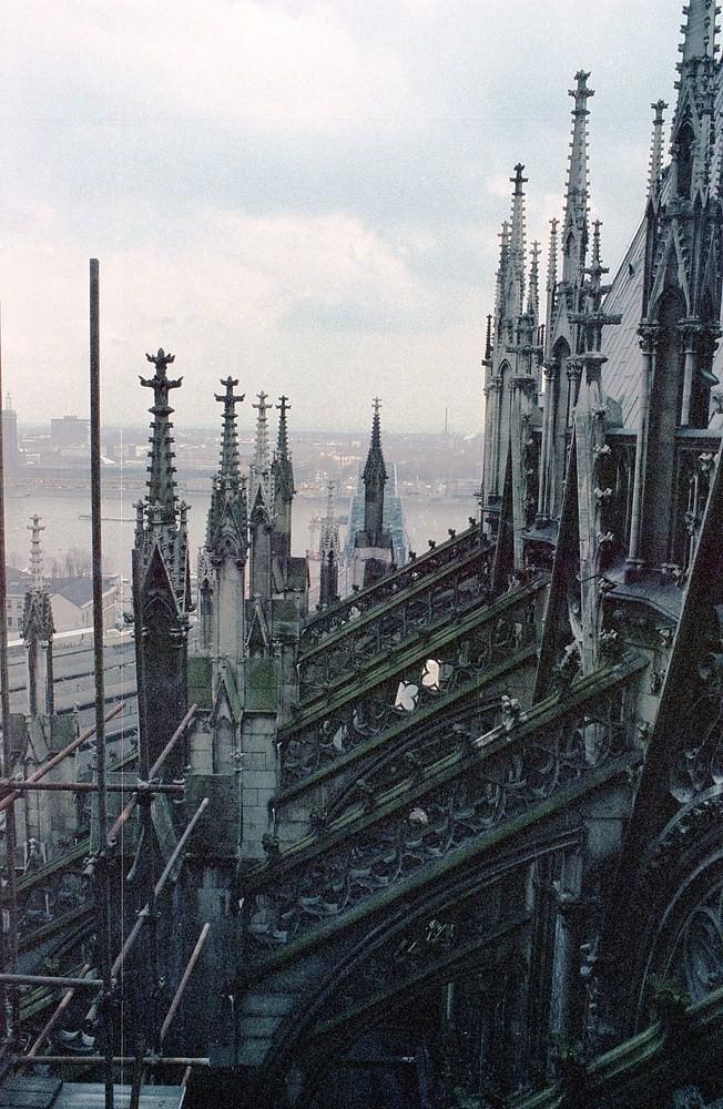 Vom Kölner Dom in 45 m Höhe Richtung Hohenzollernbrücke fotografiert.