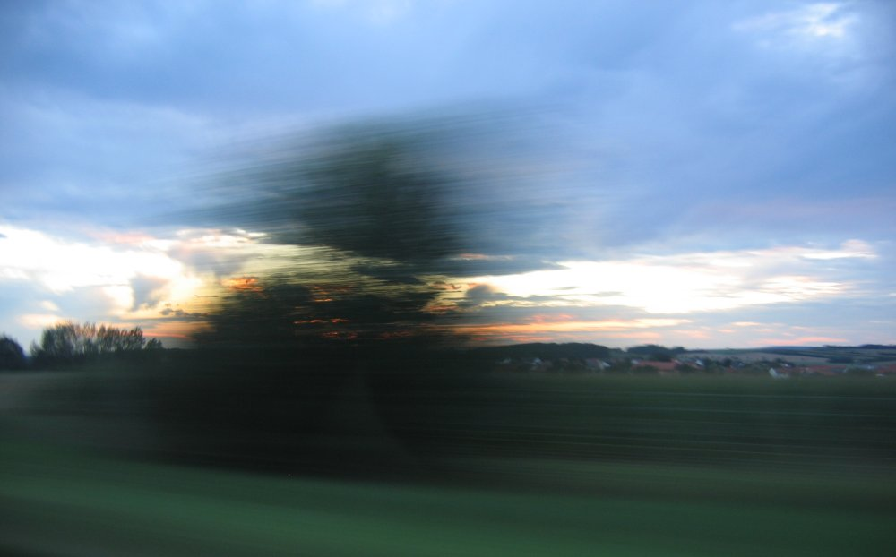 vorbeiziehende Landschaft