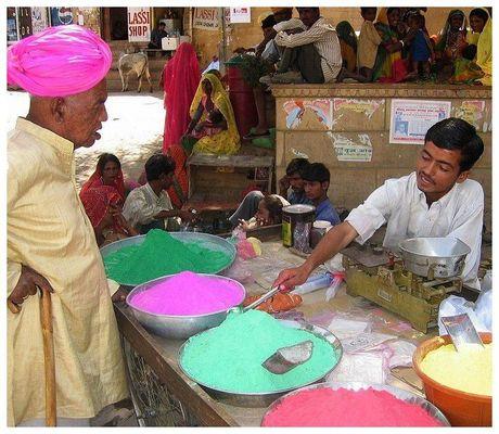 Vorbereitung des Holi-Festival