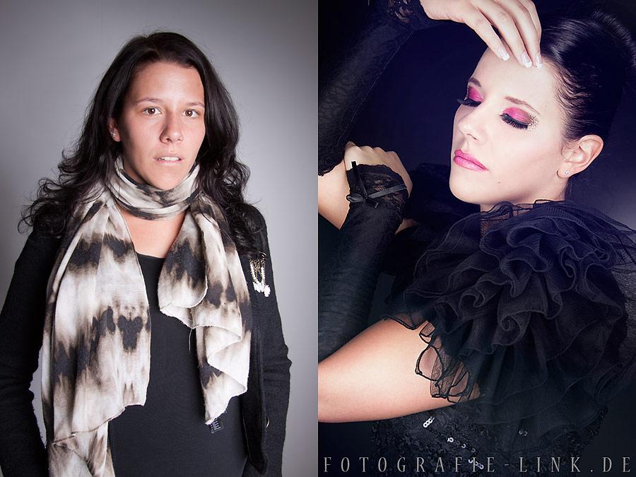 Vorher-Nachher Model Sabrina, Fotografie Link und Visa ich