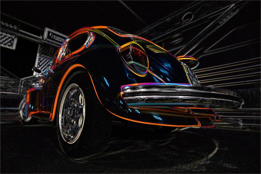 VW Beetle at night