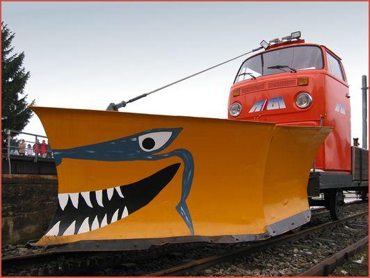 VW Bus Schneepflug der Rigibahn