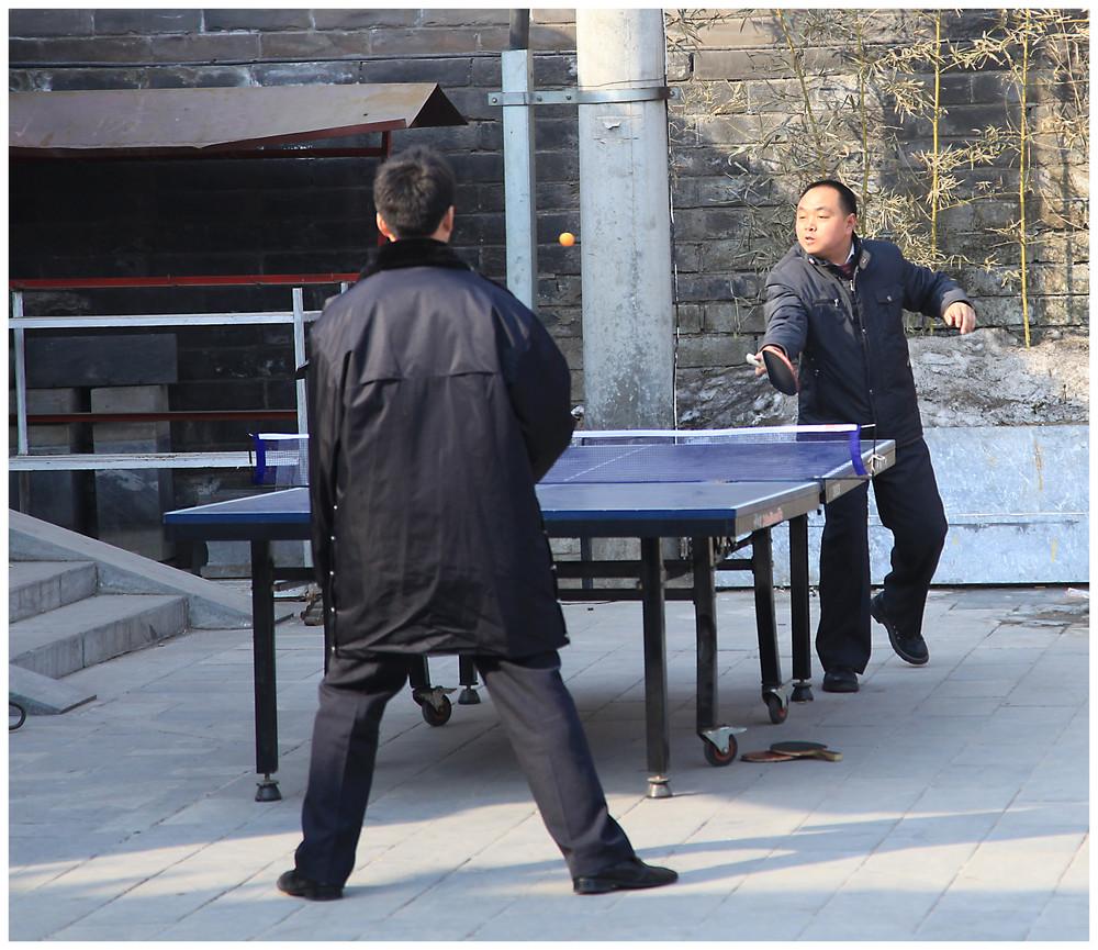 Wachmannschaft beim Ping Pong / Peking