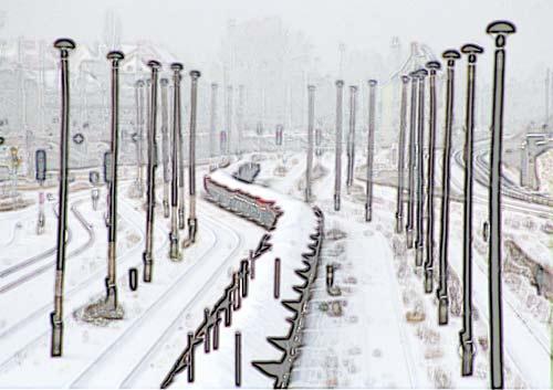 Wagenschlange im Winter