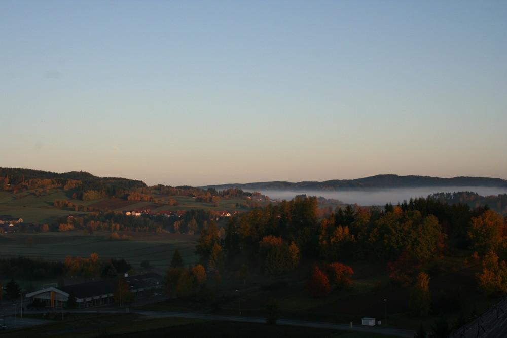 Waldviertel am Morgen im Herbst