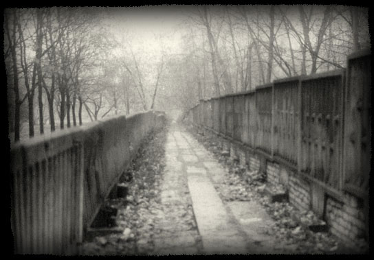 Walking along factory fence in foggy morning.