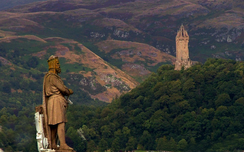 Wallace monument and Robert the Bruce.