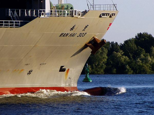 Wan Hai 303 auf der Elbe