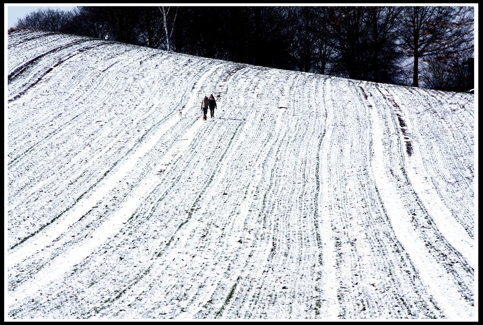 Wanderung in weißen Winterwellen