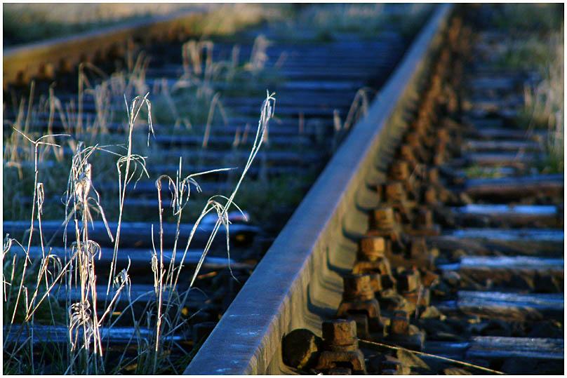 warmes Licht auf kaltem Gleis
