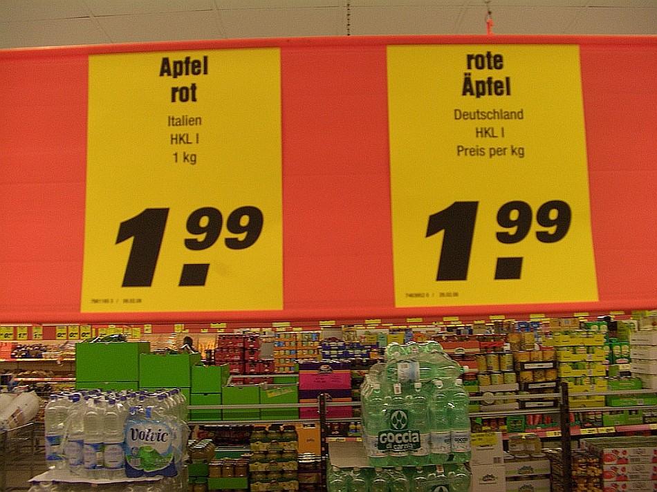 Was du wolle, Apfel rot oder rote Äpfel? Kost das gleiche!