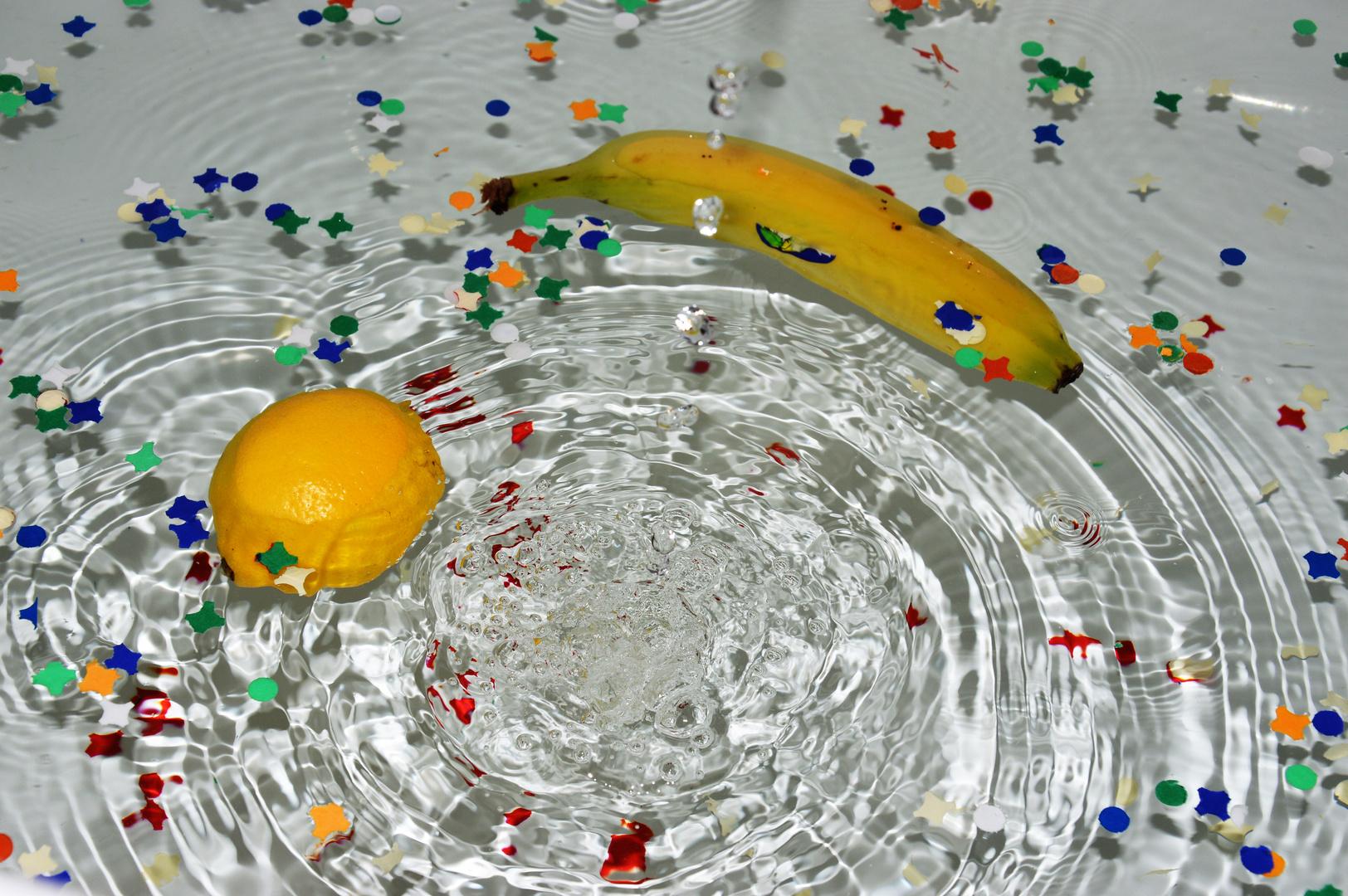 Wasser Obst Konfetti