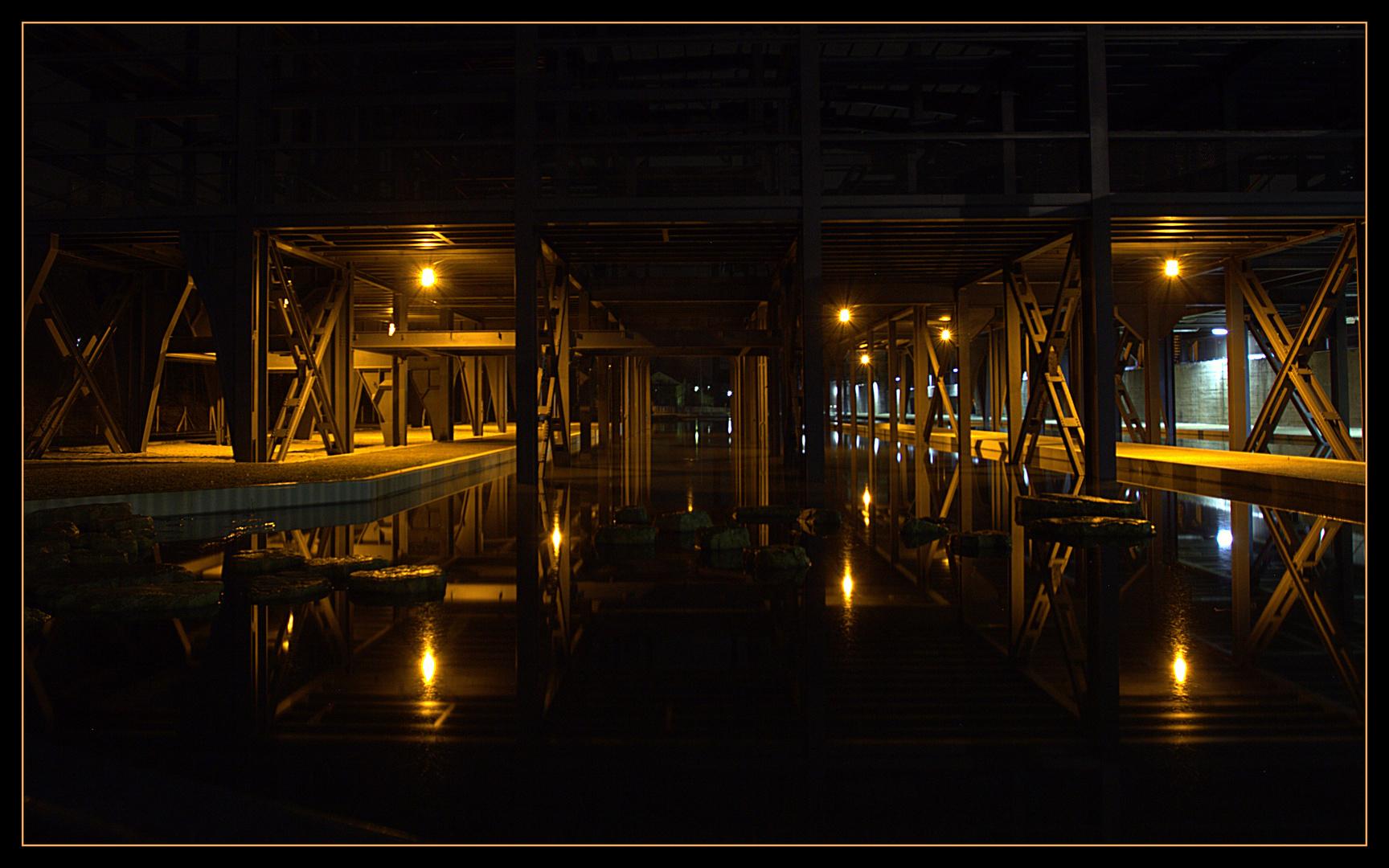 Wassergarten bei Nacht