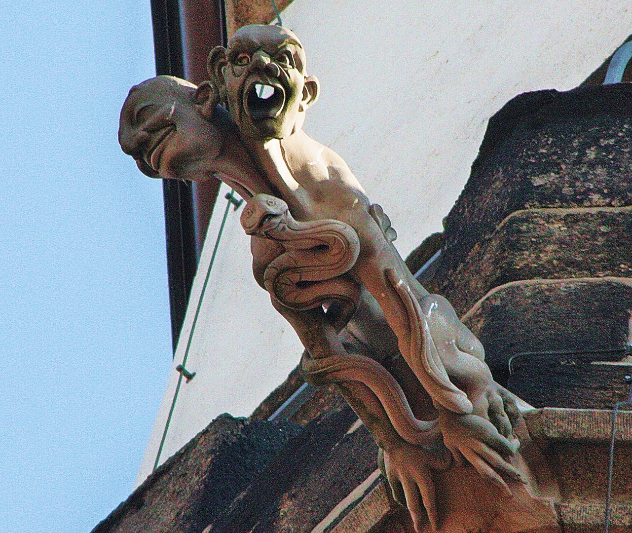 Wasserspeier am Turm der Kirche St.Marien in Kamenz s.u.