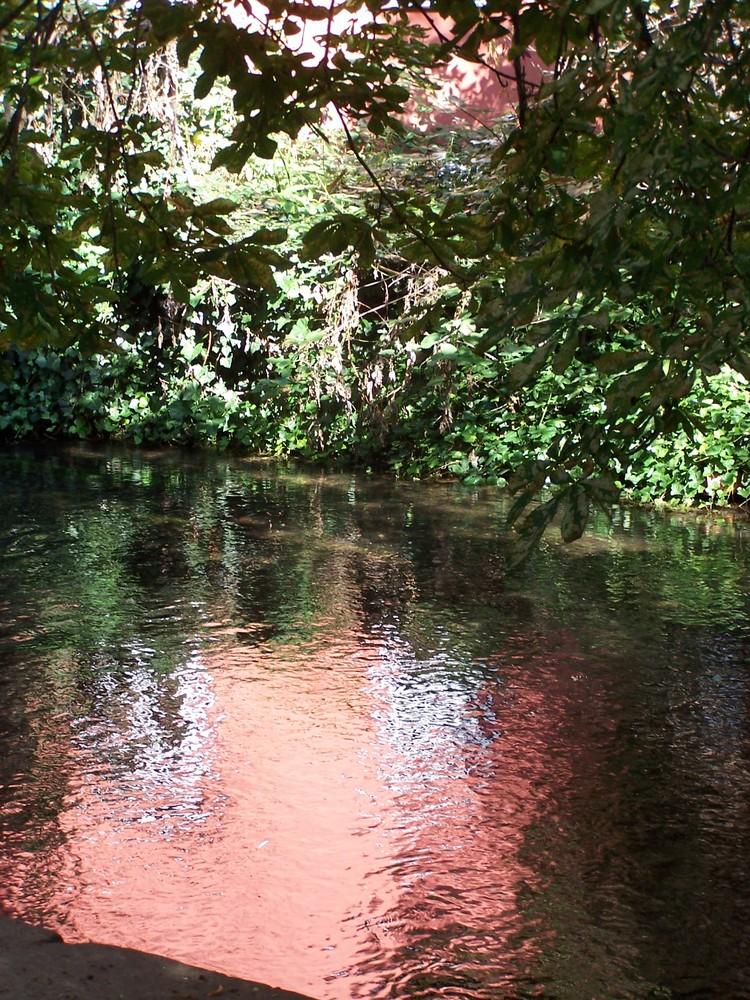 Wasserspiegelung in Rot