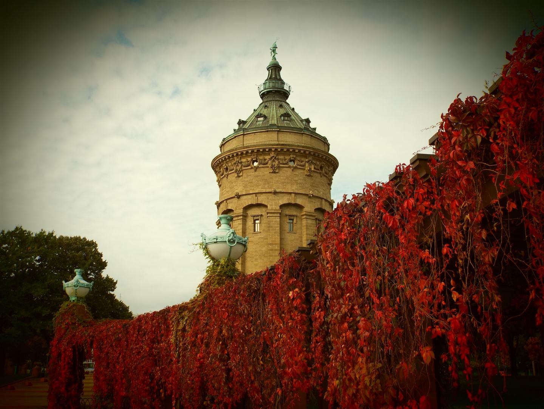 Wasserturm im Herbst