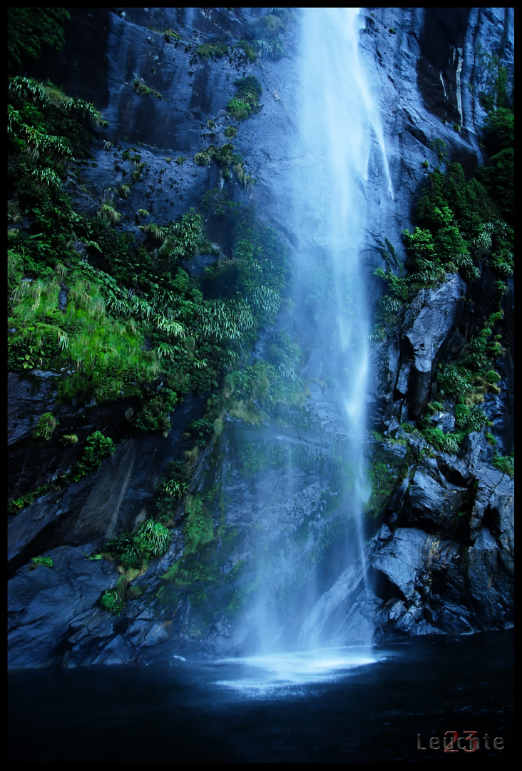 Waterfall in the Milfort Sounds NZ