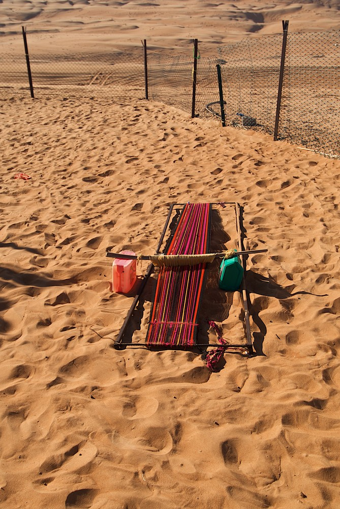 Webstuhl in der Wüste